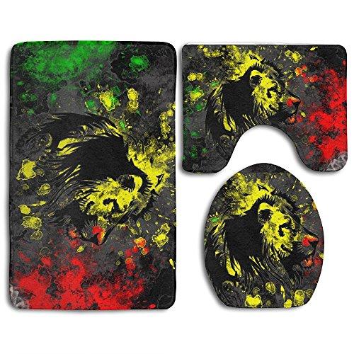 Flag 13 Piece (HOMESTORES The Lion Of Judah Rasta Rastafari Jamaica Reggae Splash-ink Style Bathroom 3-Piece Mat Sets Pedestal Mat+Lid Toilet Cover+Bath Mat Doormat Non-slip Rug)