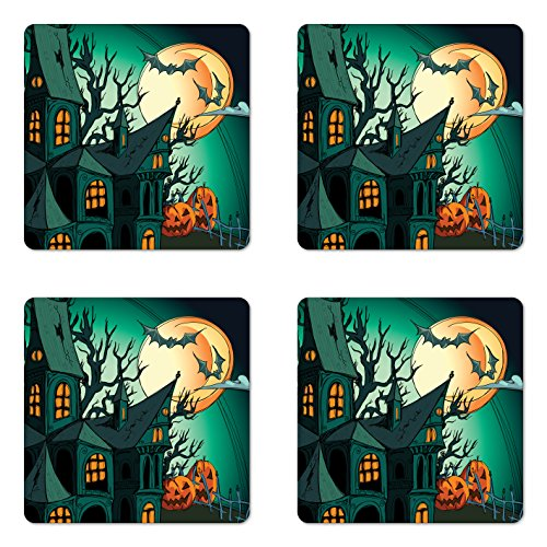 Ambesonne Halloween Coaster Set of Four, Haunted Medieval Cartoon Style Bats in Twilight Gothic Fiction Spooky Art Print, Square Hardboard Gloss Coasters for Drinks, Orange Teal ()