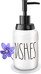 Soap Dispenser–Modern Farmhouse Style Ceramic Dishes Liquid Soap Dispenser–Perfect for Kitchen Counter Décor or Kitchen Sink-Bathroom Soap Dispenser–White Bottles with Black Pump and Lettering(14oz)