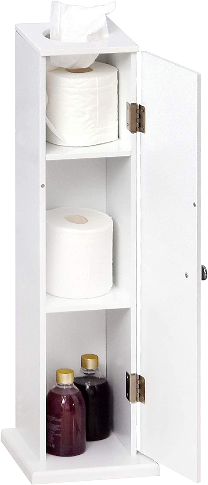Homcom Small Bathroom Corner Floor Cabinet With Doors And Shelves Thin Toilet Paper Storage Bathroom Organizer For Paper Shampoo White Home Kitchen