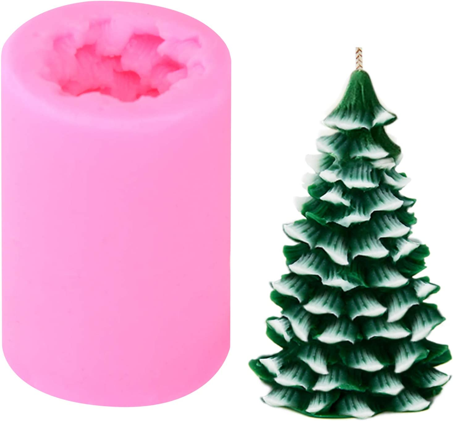 3D Christmas Tree Silicone Candle Mold for Candle Making Christmas Tree Mold Xmas Pine Tree Silicone Soap Molds DIY Baking Molds Soap Molds for Christmas Decoration Supplies