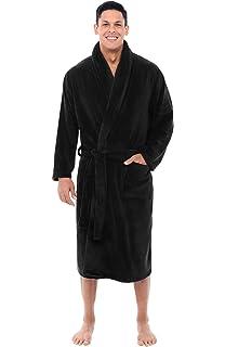 88c312458c Leisureland Men s Plush Coral Fleece Bathrobe Robes Black 50 at ...