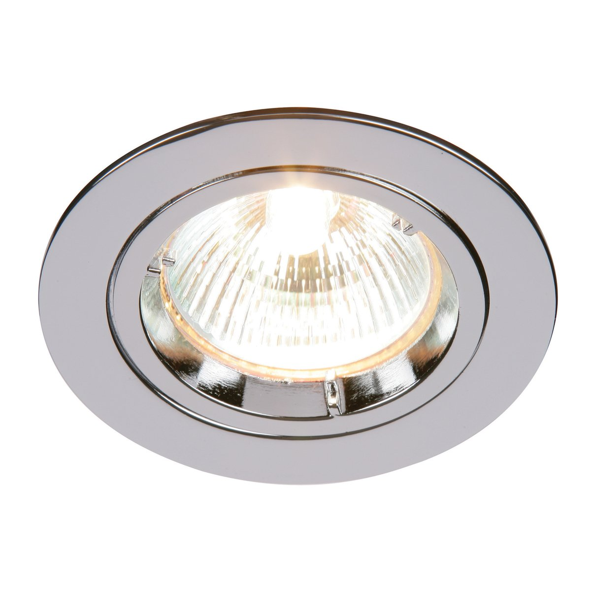 Fixed Recessed Spotlight Ceiling Lighting Downlight Mains 240V GU10 Fitting for Halogen or LED Lights Lamps Bulbs Satin Nickel Finish for Living Room Bedroom Kitchen IP20 Rated