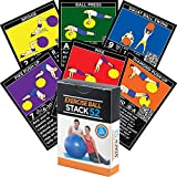 Exerciseball - Stack 52 Exercise Ball Fitness Cards. Swiss Ball Workout Playing Card Game. Video Instructions Included. Bodyweight Training Program Balance Stability Balls. Get Fit at Home.