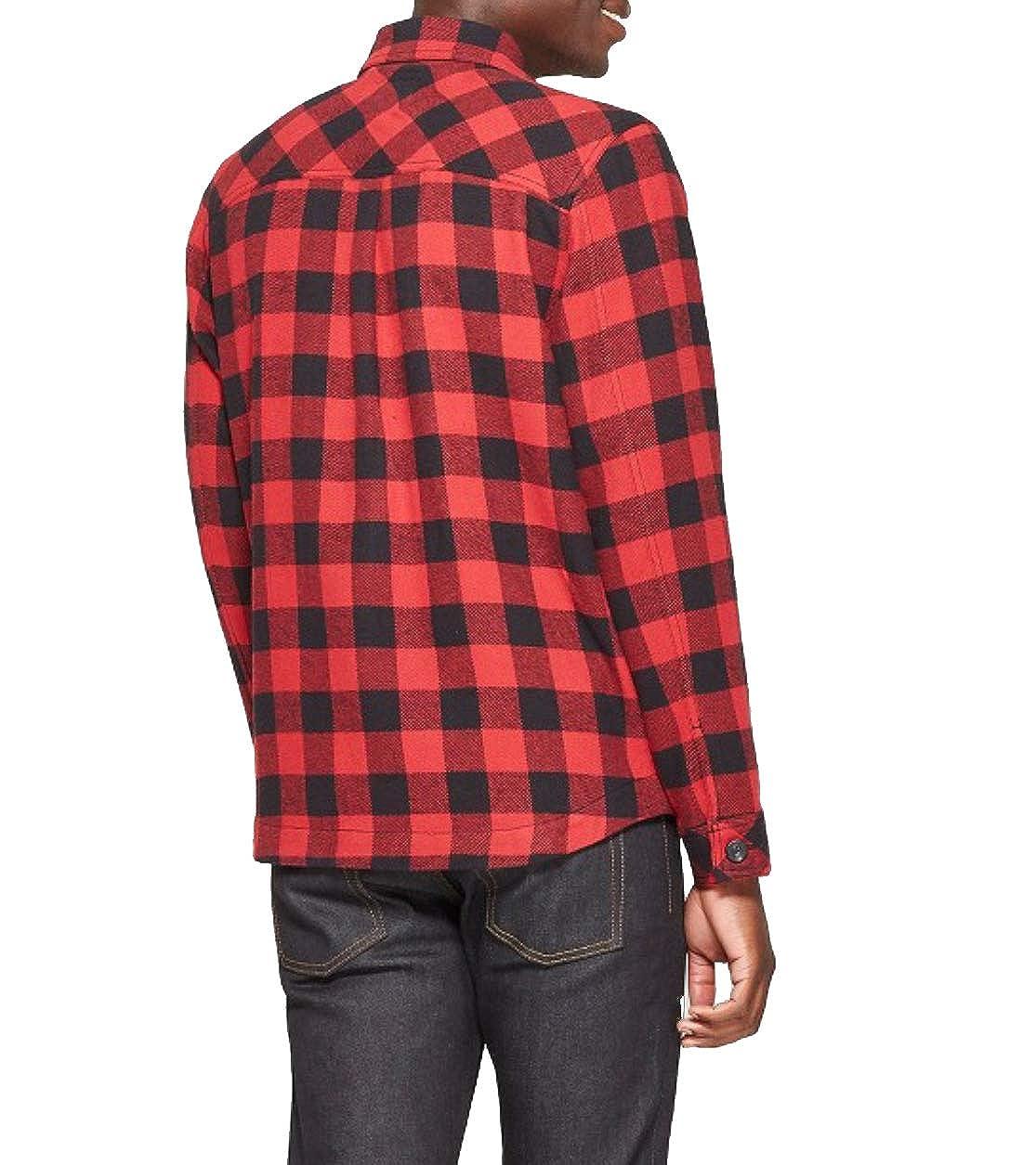 Goodfellow /& Co Mens Long Sleeve Buffalo Check Plaid Shirt Jacket Ripe Red Small
