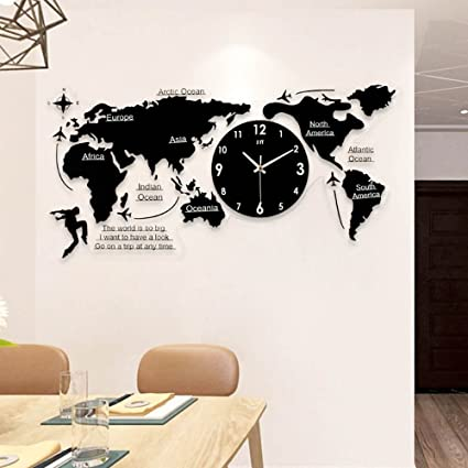 Amazon Com Zeetoon Creative Mute Quiet 3d World Map Wall Clock
