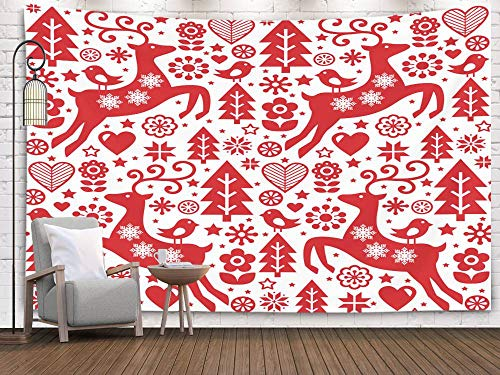 (Crannel Christmas Folk red Pattern Scandinavian Art Reindeer Birds Flowers Decoration Wallpaper Tapestry 60x50 Inches Wall Art Tapestries Hanging for Dorm Room Living Home Decorative)