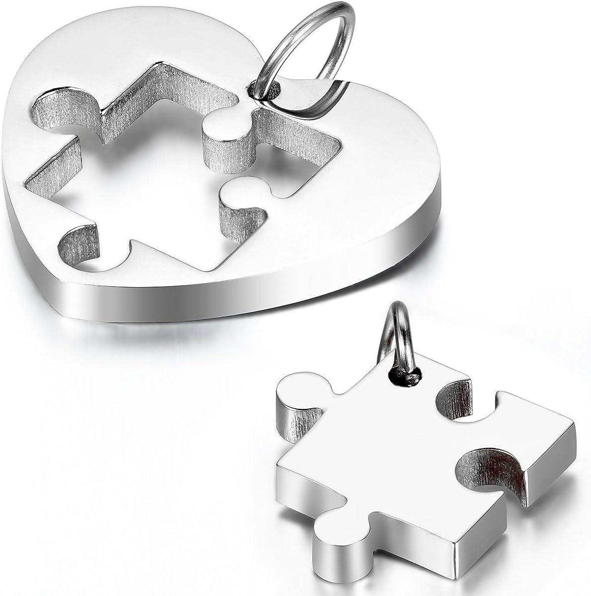 Cupimatch Collar Mujer Corazón Rompecabezas Juego de 2 Pcs Collar para Parejas Acero Inoxidable Regalo para Amor Buena Suerte Plateado Collares de Mejores Amigas