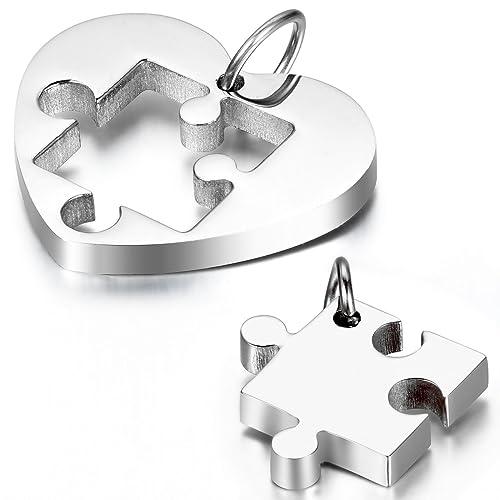 cupimatch Freundschaftsketten Herz Form Paar Halskette , Edelstahl Puzzle Anhänger mit 2 Halsketten ...