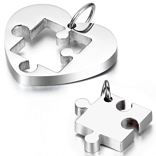9f47f133c Cupimatch 2-Pieces Couples Necklace Stainless Steel Love Heart Puzzle  Matching Pendant with Chain: Amazon.ca: Jewelry