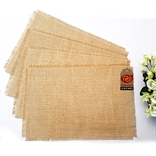 Parfair Dessin Pack of 4 Natural Burlap Jute Place Mats for Rustic Primitive Country Wedding Party Farmhouse Decoration Spring Bridal Baby Shower Decor (Fringe Edge Pack of 4, Natural) - Jute Fringe