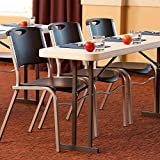 Professional Home Office Conference Table, 6' White Granite High Density Polyethylene Table Perfect Size for Meetings Seminars or Conferences Patented Steel Frame with Powder-Coated