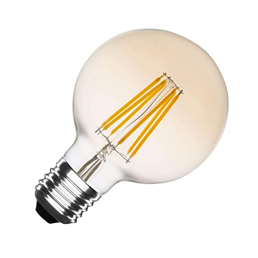 Bombilla LED E27 Regulable Filamento Gold Globo G80 6W efectoLED
