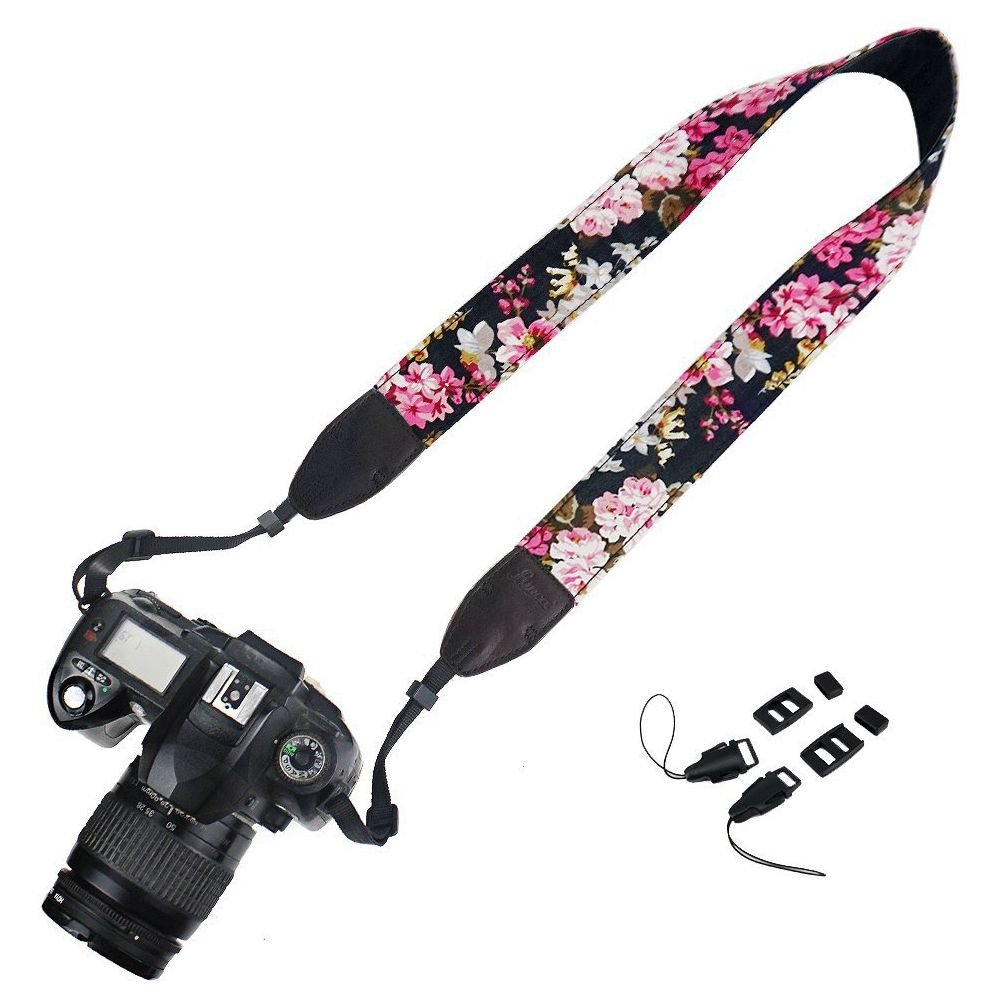 SODIAL(R) Camera Neck Shoulder Strap Belt for Nikon / Canon / Sony / Olympus / Pentax / Mini8 / Mini7s / Mini25 / Mini 50s / Mini 90 / DSLR / SLR / DC / Fujifilm Instax Camera - Flower Floral Black 099458A1