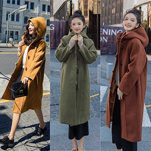 Slim Woolen And Winter Long Hooded Turmeric Of In Horns Women Jacket Women The Section Autumn Xuanku Coat Horns qgB5dFg
