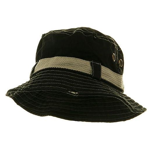 5926b5c54ad MG Frayed Cotton Twill Washed Bucket Hat - Black at Amazon Men s ...