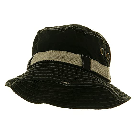 fca3ba6d69f1ed Frayed Cotton Twill Washed Bucket Hat - Black: Amazon.ca: Clothing ...