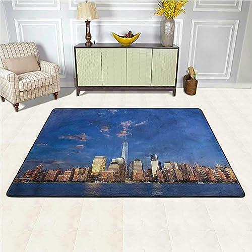 Outdoor Rug New York Non-Slip Floor Mat Carpet America City Night Skyline 4 x 6 Rectangle