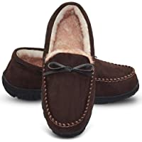 54fd73906fca69 LA PLAGE Mens Slippers Indoor/Outdoor Plush Lining Moccasin Microsuede Slip  On House Shoes
