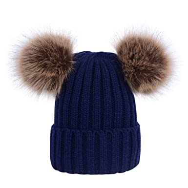 a7adbf9042c859 Lau's Womens Ladies Winter Ribbed Knitted Beanie Bobble Hat with Twin Faux  Fur Pom Pom in