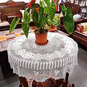 hoomy mano ganchillo mantel redondo algodón mantel funda para mesa de encaje blanco rural hecho a mano manteles de ganchillo Cobertores de para mesa de ...