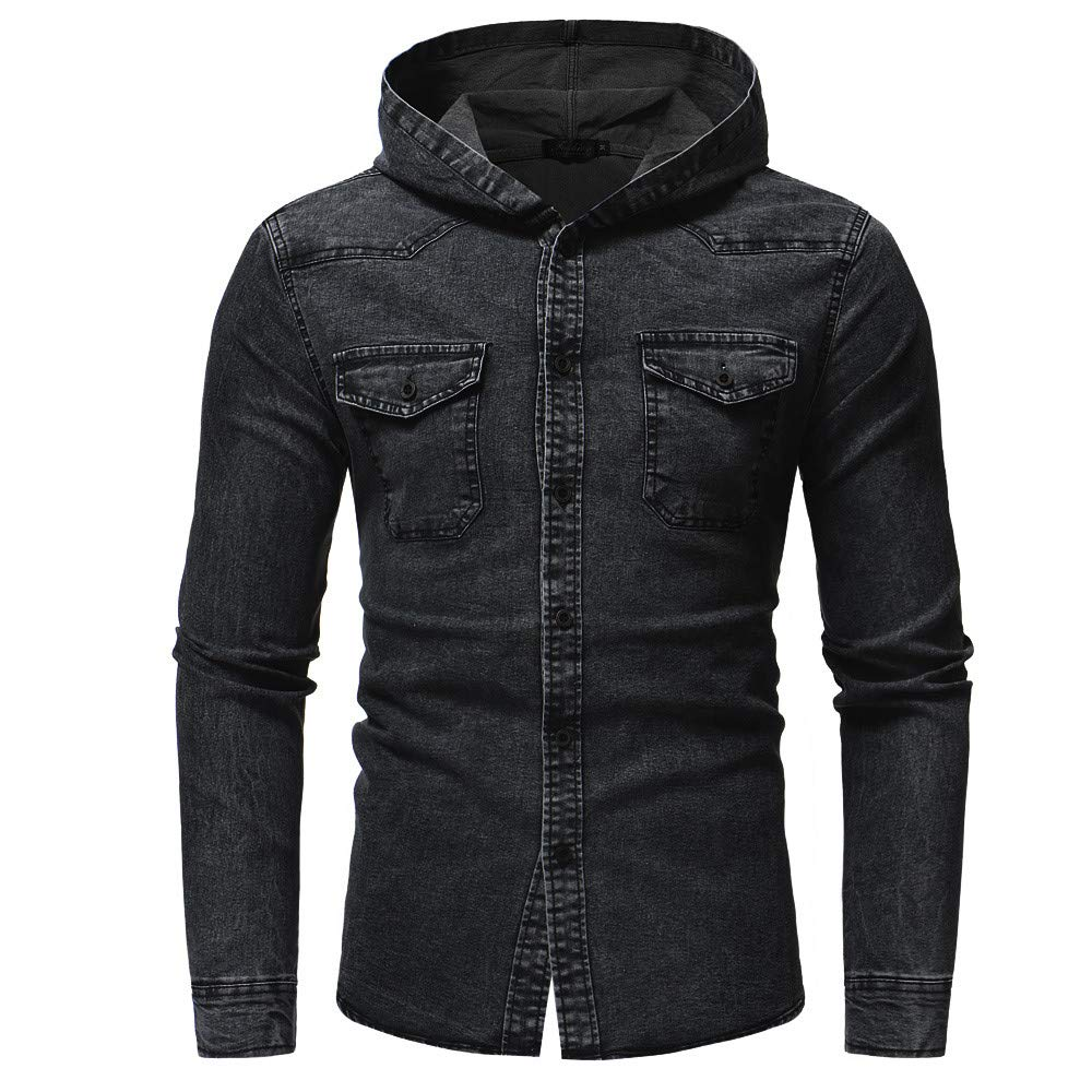 PASATO Men's Autumn Winter New Hot! Hooded Button Vintage Distressed Demin Hoodie Tops Blouse Pure Color Clothes(Black, 3XL)