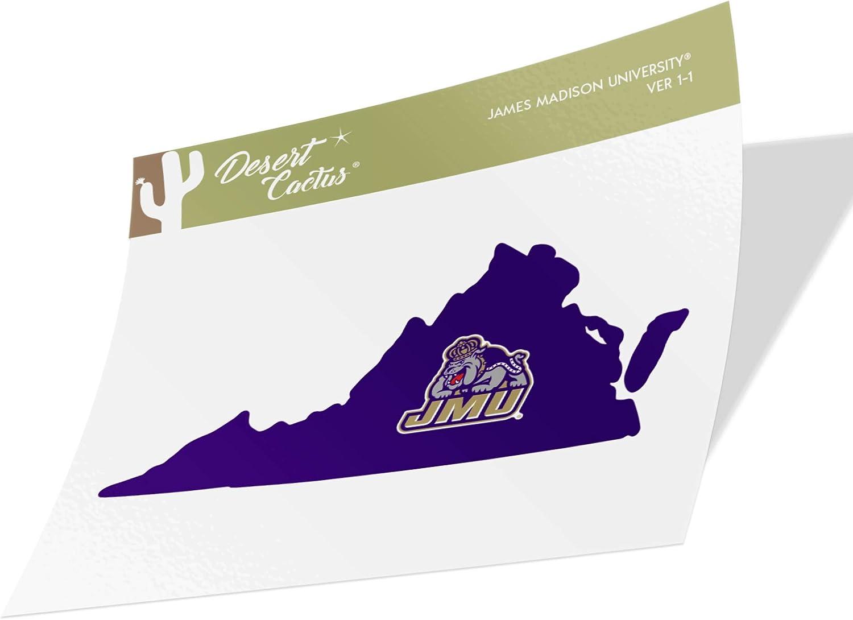 James Madison University JMU Dukes NCAA Vinyl Decal Laptop Water Bottle Car Scrapbook (State Boarder Sticker)