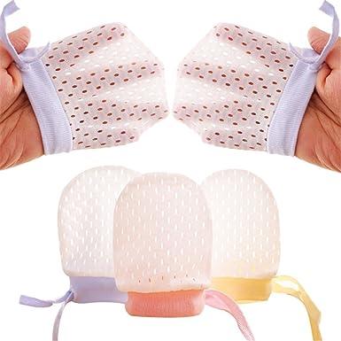 Organic Cotton Newborn Baby Anti Scratch Mittens Color White