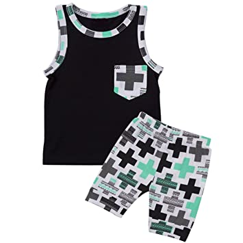 Puseky Kids Baby Boys Outfits Sleeveless Vest Tops Shorts Summer