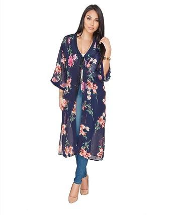 66c2471e1 vnytop Women Summer Boho Chiffon Floral 3/4 Sleeve Midi Beach Cape Party  Cardigan Cloak
