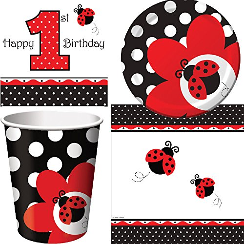 Ladybug Fancy Birthday Party Supplies For 16 Guests | Includes 16 Paper Lunch Napkins, 16 Paper Dessert Plates, 16 Paper Cups And 1 Table Cover | Adorable Ladybug Paper Plates And Napkins Set -