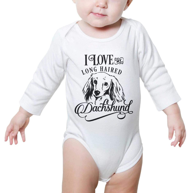 FanYe Unisex Baby Onesies I Love My Cute Dachshund pet Dog Long Sleeve Infant Bodysuit