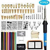 97Pcs Wood Burning Kit, Professional Woodburning Tool with Soldering Iron, Creative Tool Set Adjustable Temperature Soldering Pyrography Pen for Embossing Carving Soldering Tips (New)