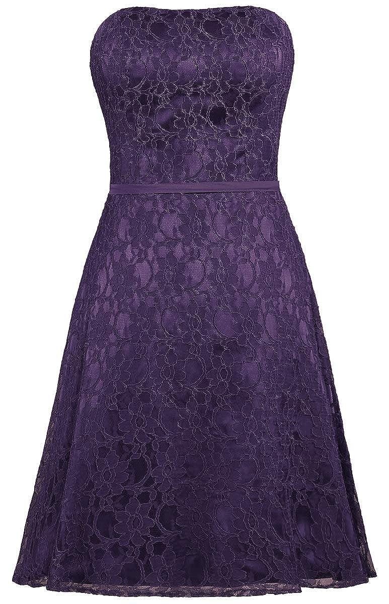 Grape ANTS Women's Strapless Lace Bridesmaid Dresses Short Party Gown