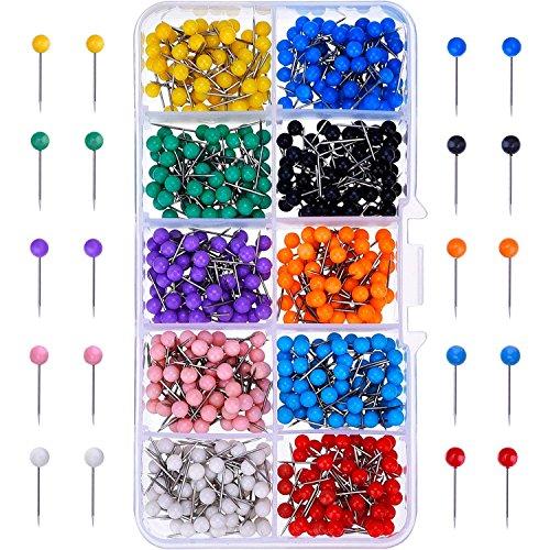 CoWalkers Mapa push pins,Tachuelas de mapa Pasadores de empuje Cabeza de plástico con punta de acero, Cabezal de perlas de...