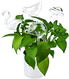 LadyRosian 4 Pack Plant Waterer Self Watering Globes, Hand Blown Transparent Glass Plant Watering Mini Durable Clear Glass Aqua Bulbs, Automatic Plant Watering Devices (4 Pack Different-Shaped)