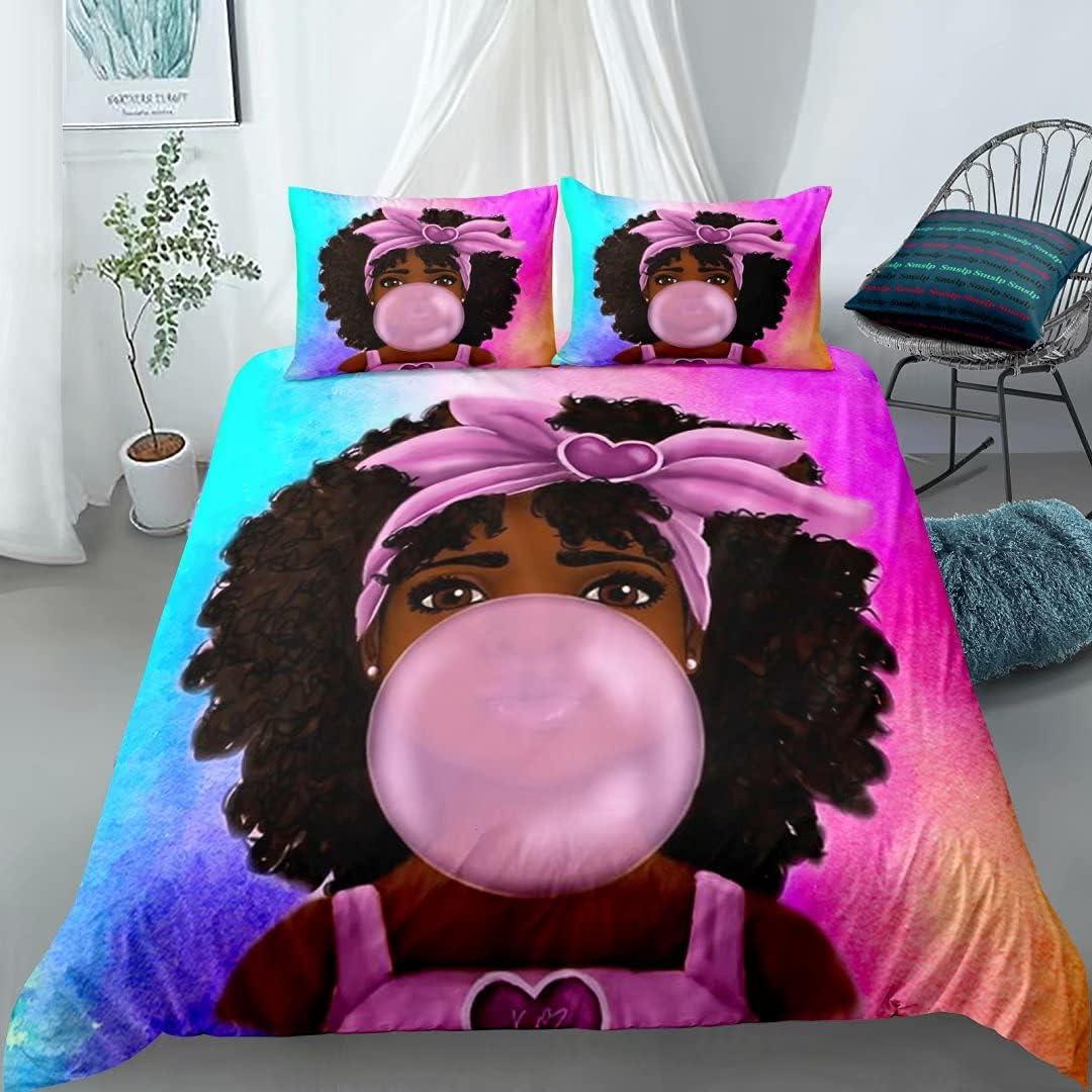 Black Girl Bubble Gum Bedding Set Queen ,Black Girl Magic Art Comforter Cover , Cute African American Girl Printed Duvet Cover Sets,Kids Bedroom Decor (1Duvet Cover +2Pillowcases) No Comforter