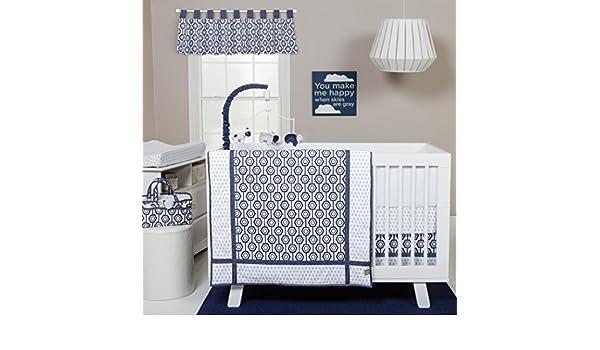 Tendencia Lab hexagonal 3 piezas para cuna juego de cama, azul marino/blanco: Amazon.es: Bebé