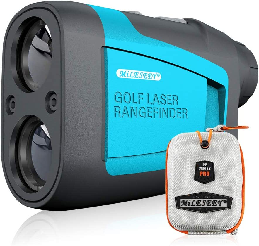 Mileseey 600M Telemetro de Golf, Telémetro Laser de Aumento de 6X, con Pinseeker y Range/Speed/Scanning, Bolsa Protectora, para Golf, Caza, Senderismo
