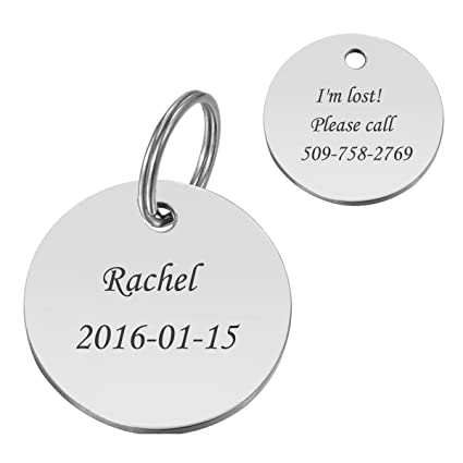 36e9141dc60 HooAMI Personalized Round Stainless Steel Pet ID Tags Dog Tag Cat Tag,Silver