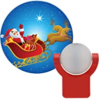 Projectables 11360 Santa & Reindeer LED Plug-In Night Light, Auto On/Off, Light Sensing, Projects Christmas Image of…