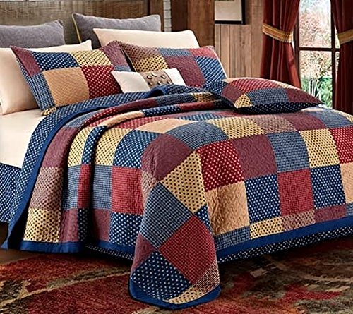 - Virah Bella Patriotic Patch Charm 3 piece Full/Queen Quilt Set, Country Americana Star Red Blue Cream