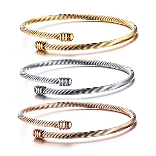 cupimatch 3pcs Damen elegant Edelstahl Charm Poliert Armband Armreif Set, Verstellbaren Größen, silber rosegold gold