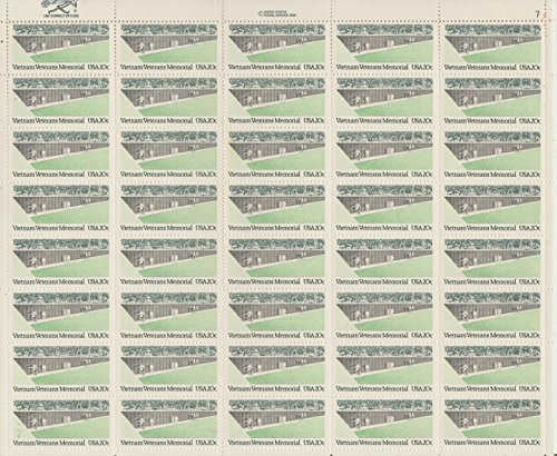 Sheet of 20 cent vietnam memorial stamps, scott #2109 ()
