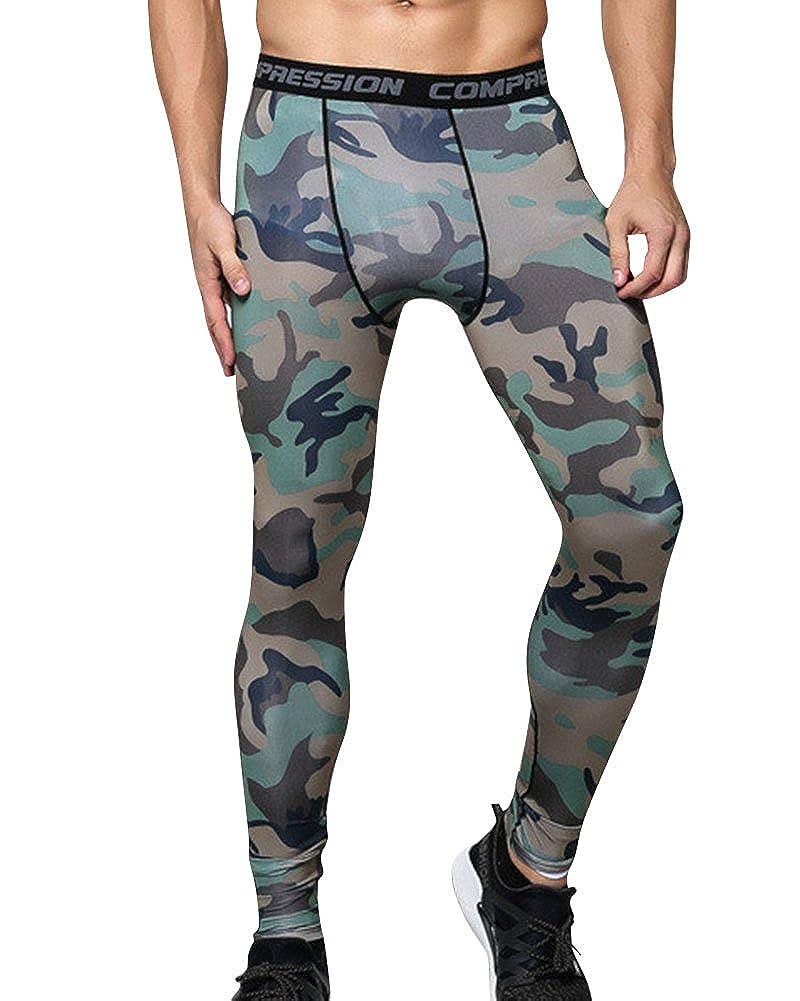 ZhuiKun Herren Tight Kompressionshose Leggings Camouflage Gedruckt Laufhose Lang
