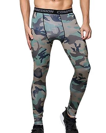 Camuflaje Compresión Leggings Polainas Apretadas Larga de los Hombres de Camo Deportes Pantalones para Hombre UCZJdMEfE