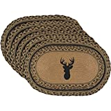VHC Brands Dark Tan Rustic & Lodge Classic Country Tabletop & Kitchen Trophy Mount Jute Placemat Set of 6,