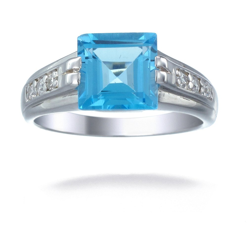 Sterling Silver Swiss Blue Topaz Ring 1.90 CT