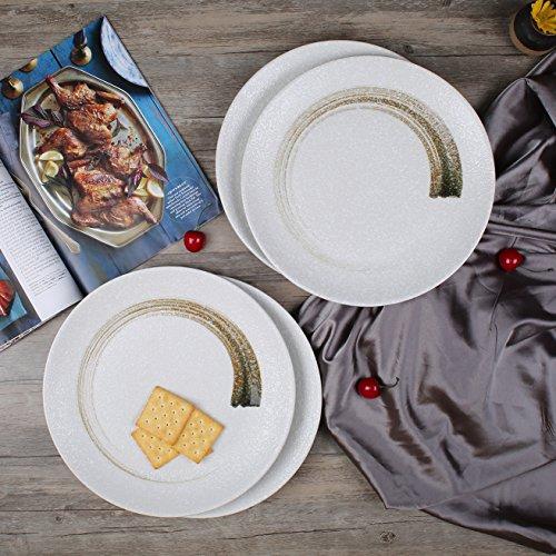 Rustic Snowflake 11-Inch Stoneware Dinner Plates/Serving Plates, Set of 4, White (Rustic Stoneware)