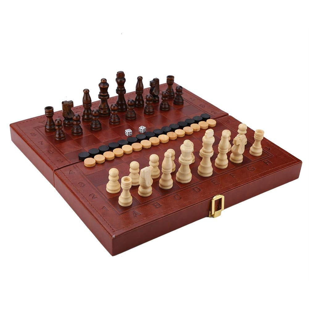 Garosa Children's Wooden Folding 3-in-1 Chess Checkers Western Backgammon Tabletop Toys Faux Leather Box with Large Size Home Edition